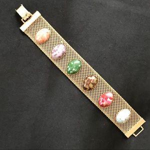 VINTAGE Scarab Cabochon Gold Mesh Bracelet